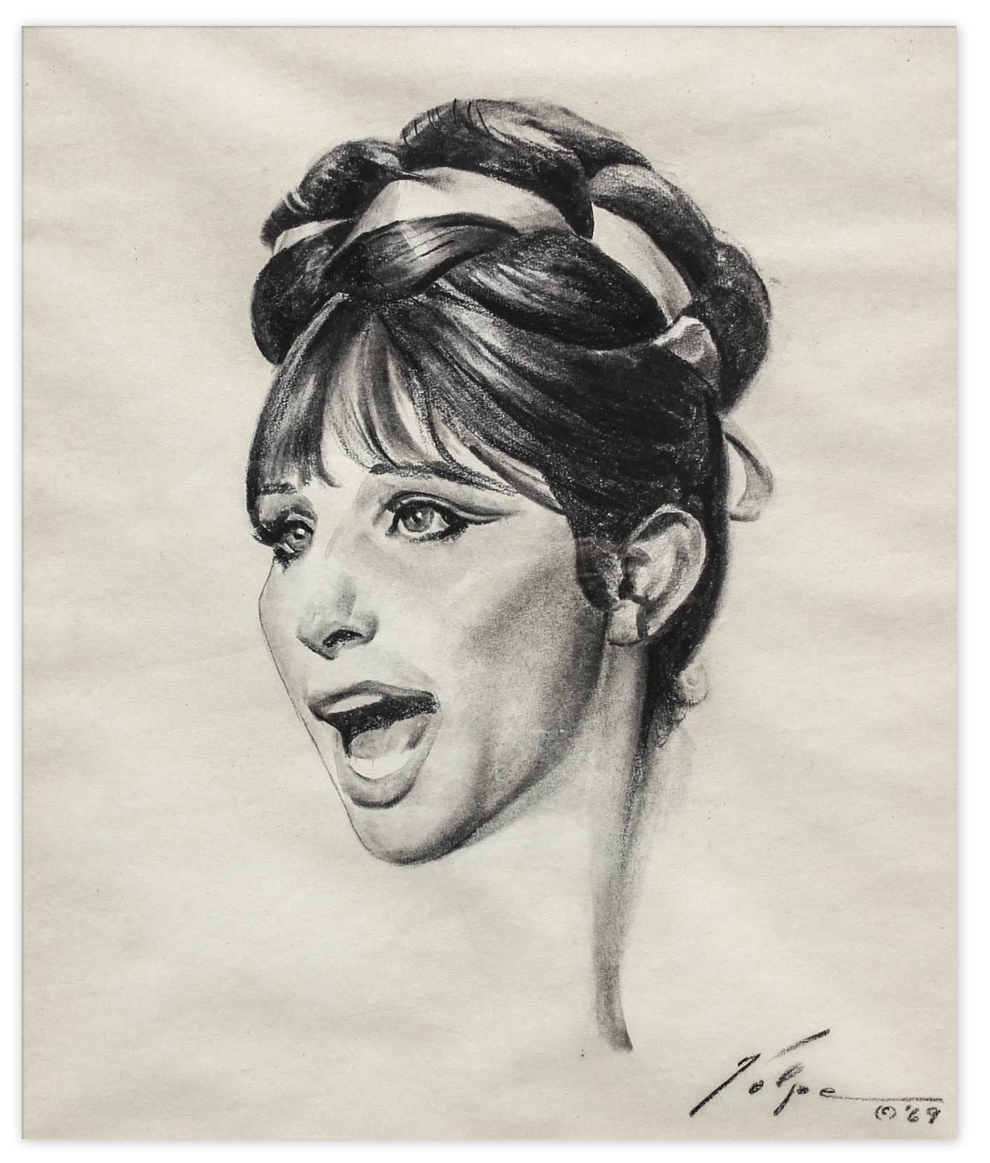 Lot Detail Nicholas Volpe Charcoal Sketch Of Barbra