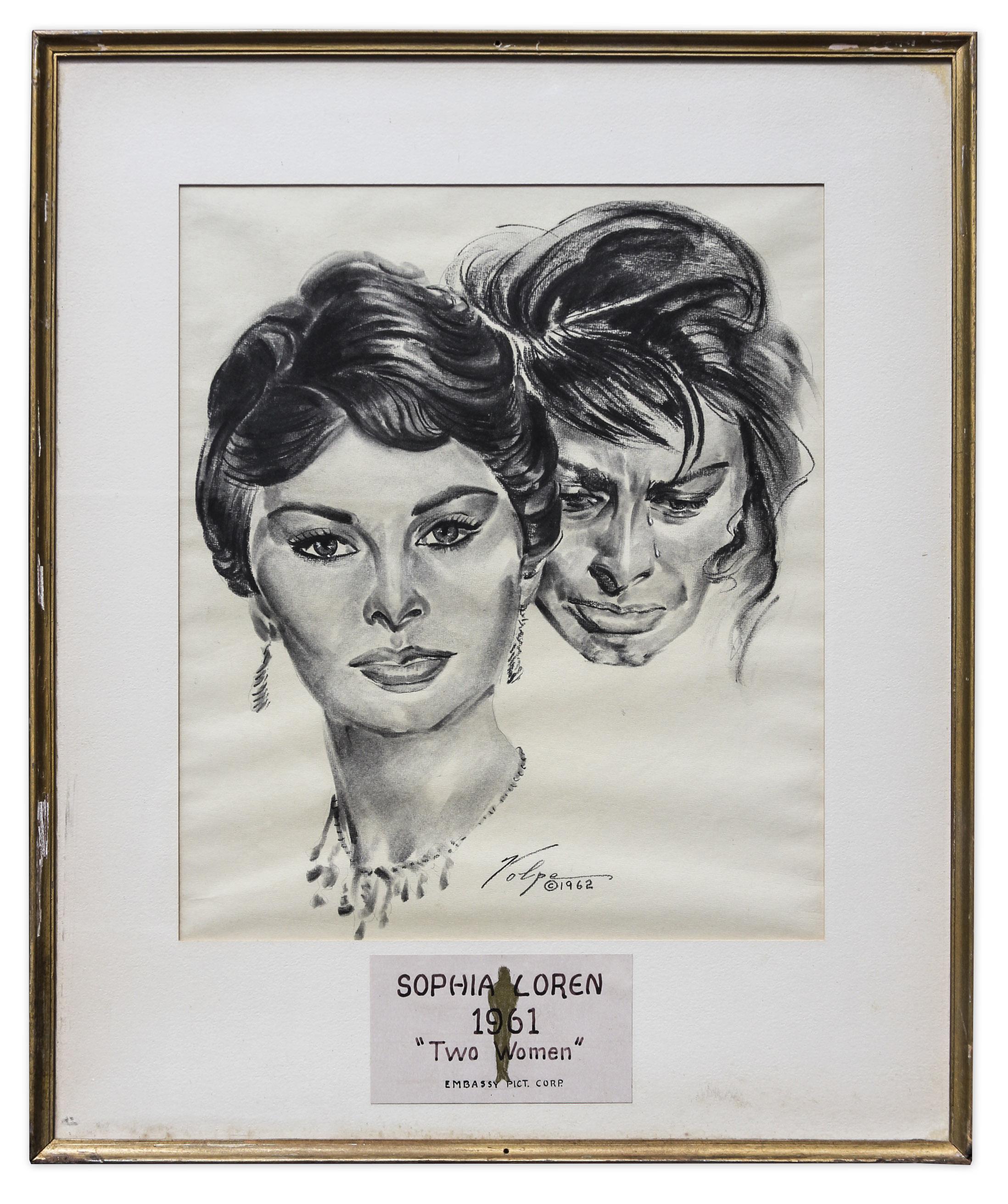 Nicholas volpe charcoal sketch of sophia loren in two women