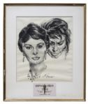 Nicholas Volpe Charcoal Sketch of Sophia Loren in Two Women -- Volpe Was Commissioned by the Motion Picture Academy to Draw Portraits Each Year of the Best Actor & Actress Oscar Winners