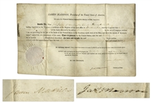 James Madison Land Grant Signed as President in 1811, Countersigned by James Monroe as Secretary of State -- With COA From JSA