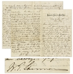 William T. Sherman Autograph Letter Signed -- ...may be gambling, got deep into debt, used public money in his hand...I spoke to him several times about the expenses of his public accounts...