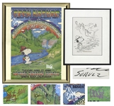 Charles Schulz Hand-Drawn Snoopy Illustration -- For a Benefit Concert in Santa Rosa, California & With Concert Poster Signed by 3 Grateful Dead Members & Sammy Hagar