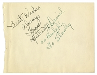 Hattie McDaniel Signed Album Page -- From Hattie McDaniel as Beulah! Referencing Gone With the Wind