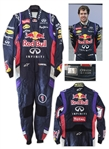 Sebastian Vettel Race-Worn Suit -- Worn During 2014 Formula One Season -- Vettel Won Four Consecutive Formula One Championships From 2010-2013