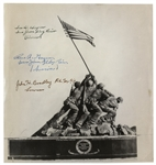 Iwo Jima Iconic Photograph Signed by All Three Surviving Flag-Raisers, Ira Hayes, Rene Gagnon & John H. Bradley -- Each Marine Signs Survivor
