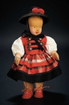 Shirley Temples Childhood Owned Swiss Carved Wooden Doll in Original Folklore Costume