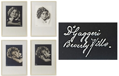 Four Large 13.5 x 11 Studio Portrait Photographs of Shirley Temple by DGaggeri of Beverly Hills