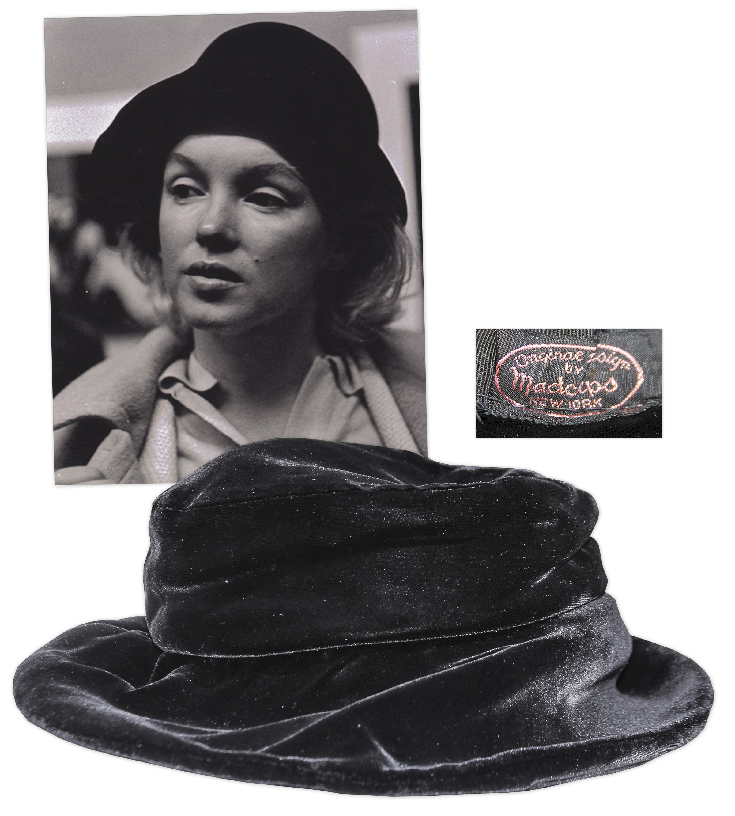 46870e4a93d25 Marilyn Monroe Personally Owned Black Velvet Hat -- Includes Photograph of  the Iconic Hollywood Star ...
