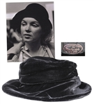 Marilyn Monroe Personally Owned Black Velvet Hat -- Includes Photograph of the Iconic Hollywood Star Wearing Hat