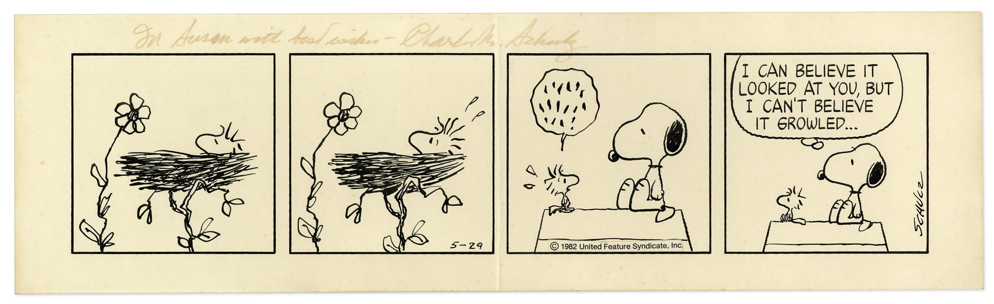 Snoopy & Woodstock ''Peanuts'' Strip Hand Drawn by Charles Schulz