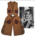 Shirley Temples Suede Vest and Chaps, Worn for the 1936 Texas Centennial