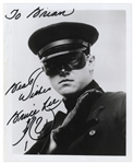 Bruce Lee Signed Photo From The Green Hornet -- Bruce Also Draws the Loong Character of the Dragon