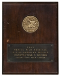 1962 Venice Film Festival Award Plaque -- Given for Excellence in Editing for U.S. #1: American Profile