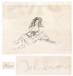 John Lennon Signed Bag One Print Depicting Lennon & Yoko Ono -- Limited Edition #48 of 300 -- With COA From Roger Epperson
