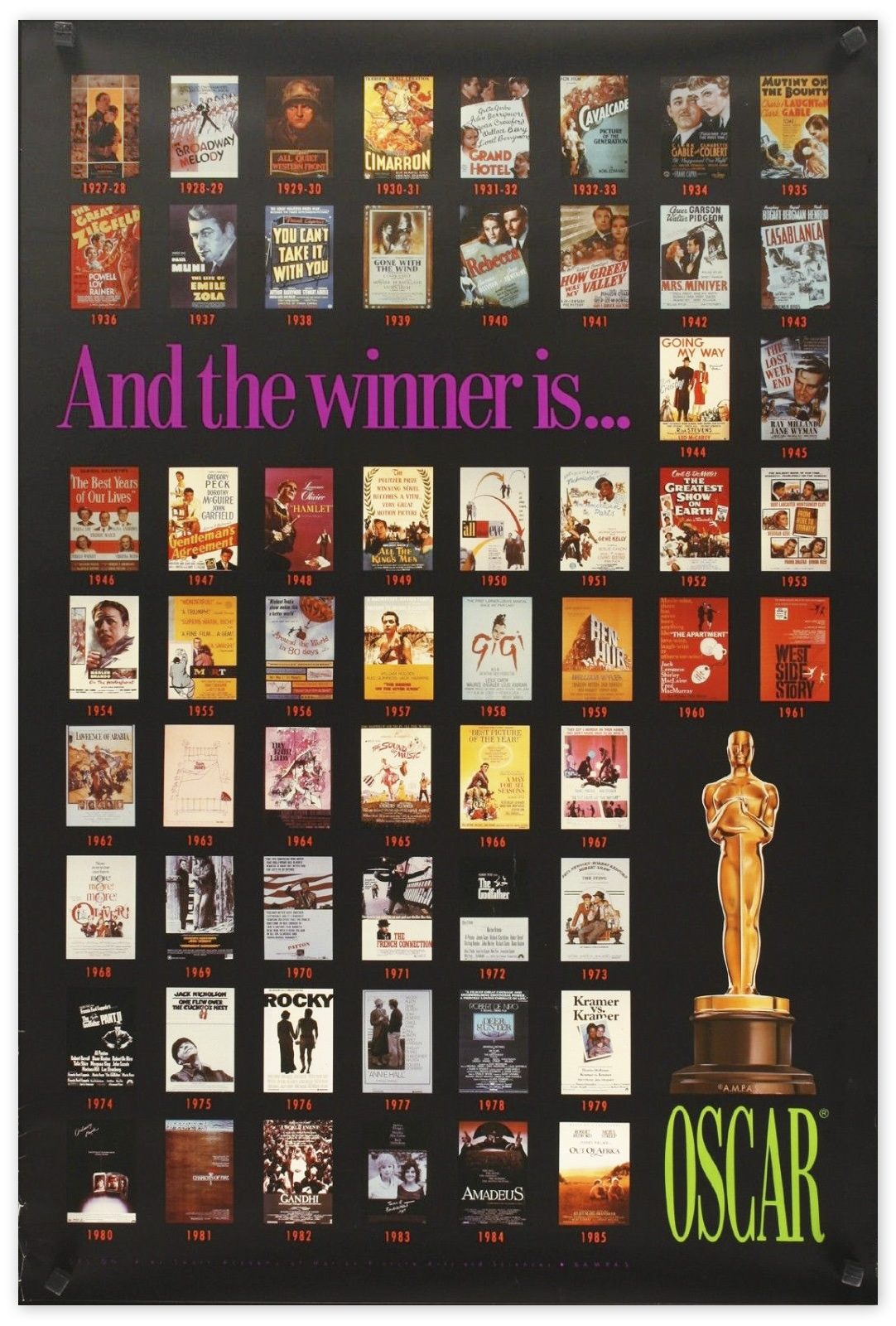 Lot Detail Academy Awards Poster Featuring The Best Picture