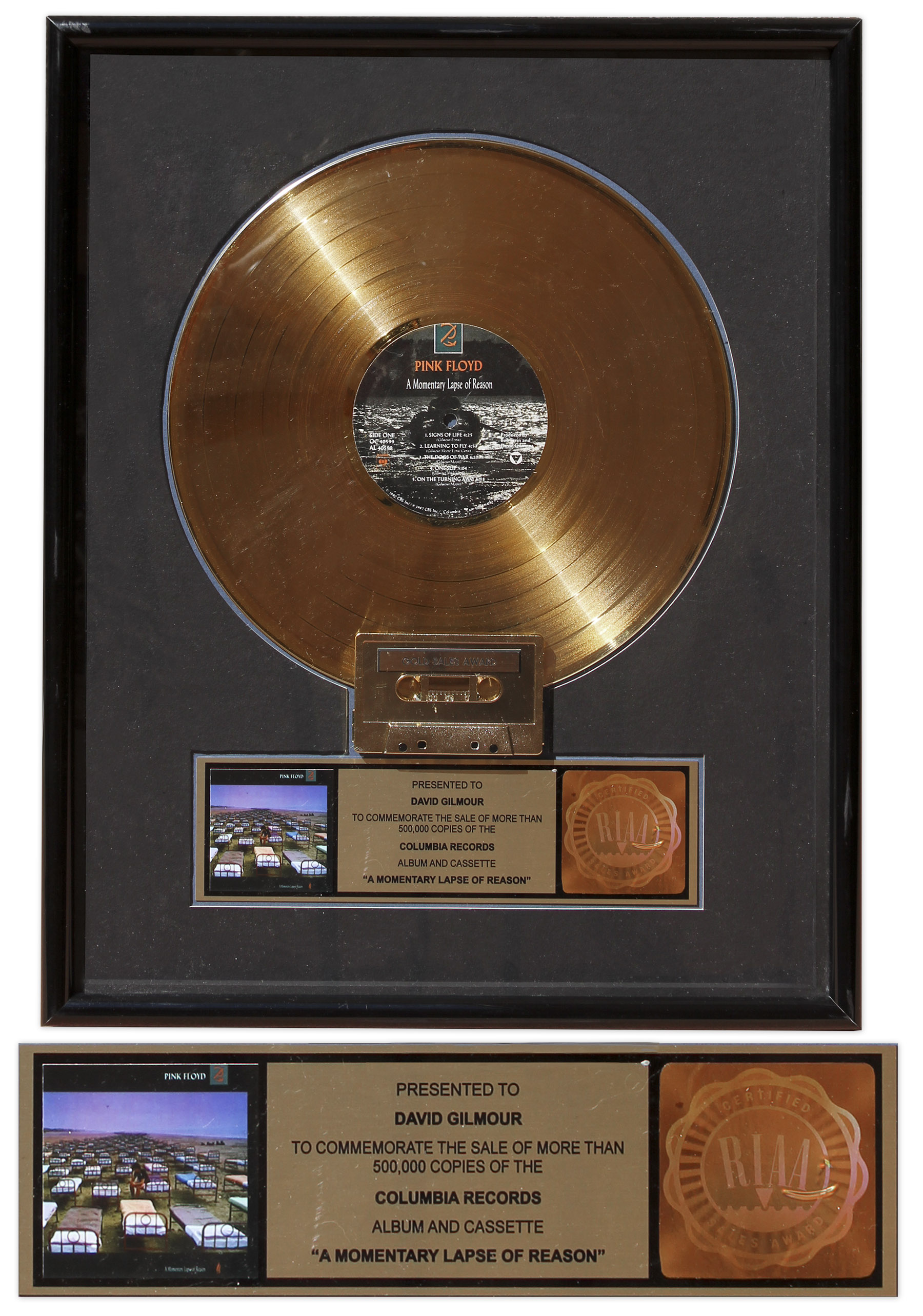 Lot Detail - Pink Floyd RIAA Gold Record Award for \'\'A Momentary ...
