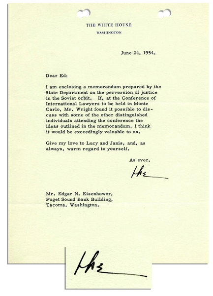 Dwight D. Eisenhower Typed Letter Signed as President -- ''...the perversion of justice in the Soviet orbit...''