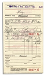1956 Lucille Ball Receipt Signed -- During the I Love Lucy Years