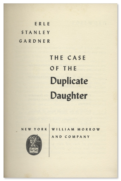 Perry Mason Mystery Signed by Author Erle Stanley Gardner -- ''The Case of the Duplicate Daughter'' First Edition
