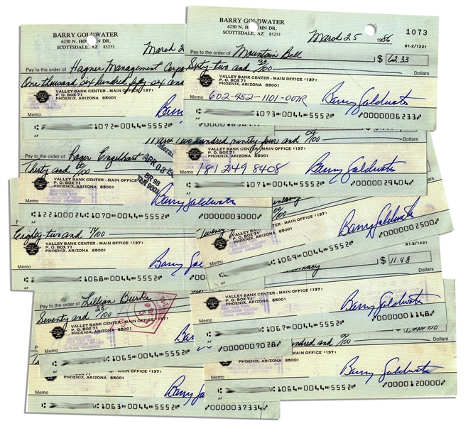Lot of 10 Barry Goldwater Checks Signed --  From March 1986 While Senator From Arizona