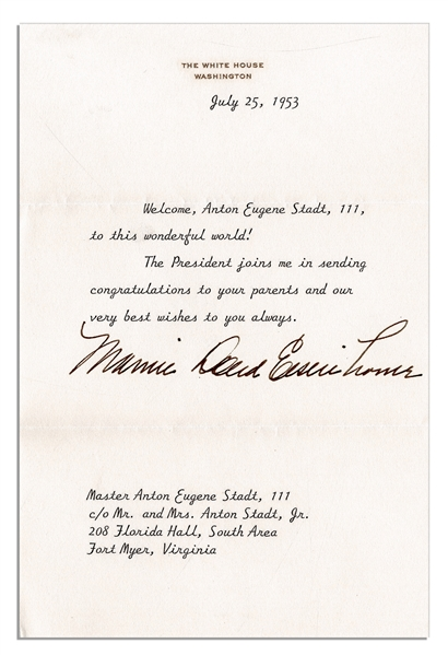 Mamie Eisenhower Typed Letter Signed on White House Stationery to a Newborn -- During Her First Year as First Lady, 1953