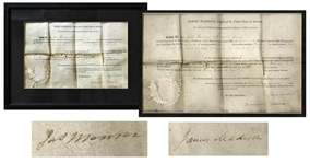 James Madison & James Monroe Signed 1812 Land Grant -- Madison Signs as President and Monroe Signs as Secretary of State