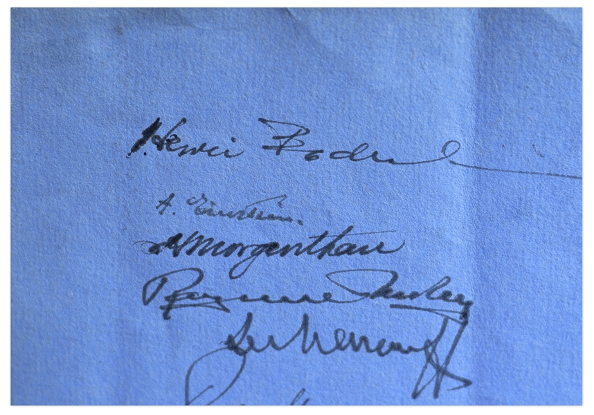 Albert Einstein Signed Menu From 1935 -- Also Signed by Prominent Jewish Leaders