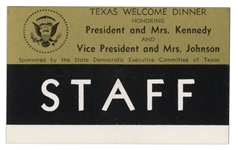 Staff Badge for the Texas Welcome Dinner the Night JFK Was Assassinated