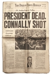 John F. Kennedy Newspaper From the Evening Edition of The Dallas Times Herald on 22 November, 1963, The Day He Was Assassinated