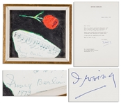 Irving Berlin Original Artwork & Autograph Musical Quotation Signed -- From His Most Famous Song of All Time, White Christmas -- With an Additional 1973 Typed Letter Signed