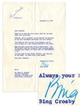 Bing Crosby Typed Letter Signed -- ...Ive heard of this boy and his prowess... -- 1965