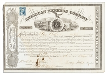American Express Stock Certificate Signed by Its Founders Henry Wells & William Fargo