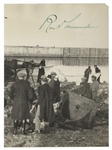 Roald Amundsen Signed Photograph -- Showing His Crew Dismantling the Famed Norge Aircraft