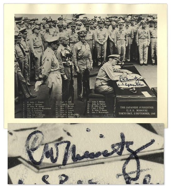WWII Admiral Chester Nimitz Signed Photograph -- Showing Nimitz Signing the Japanese Surrender Aboard the USS Missouri