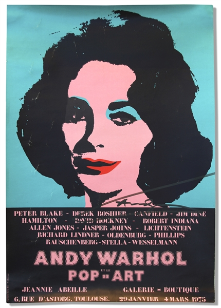 Andy Warhol Signed Poster of His Famous Elizabeth Taylor Masterpiece