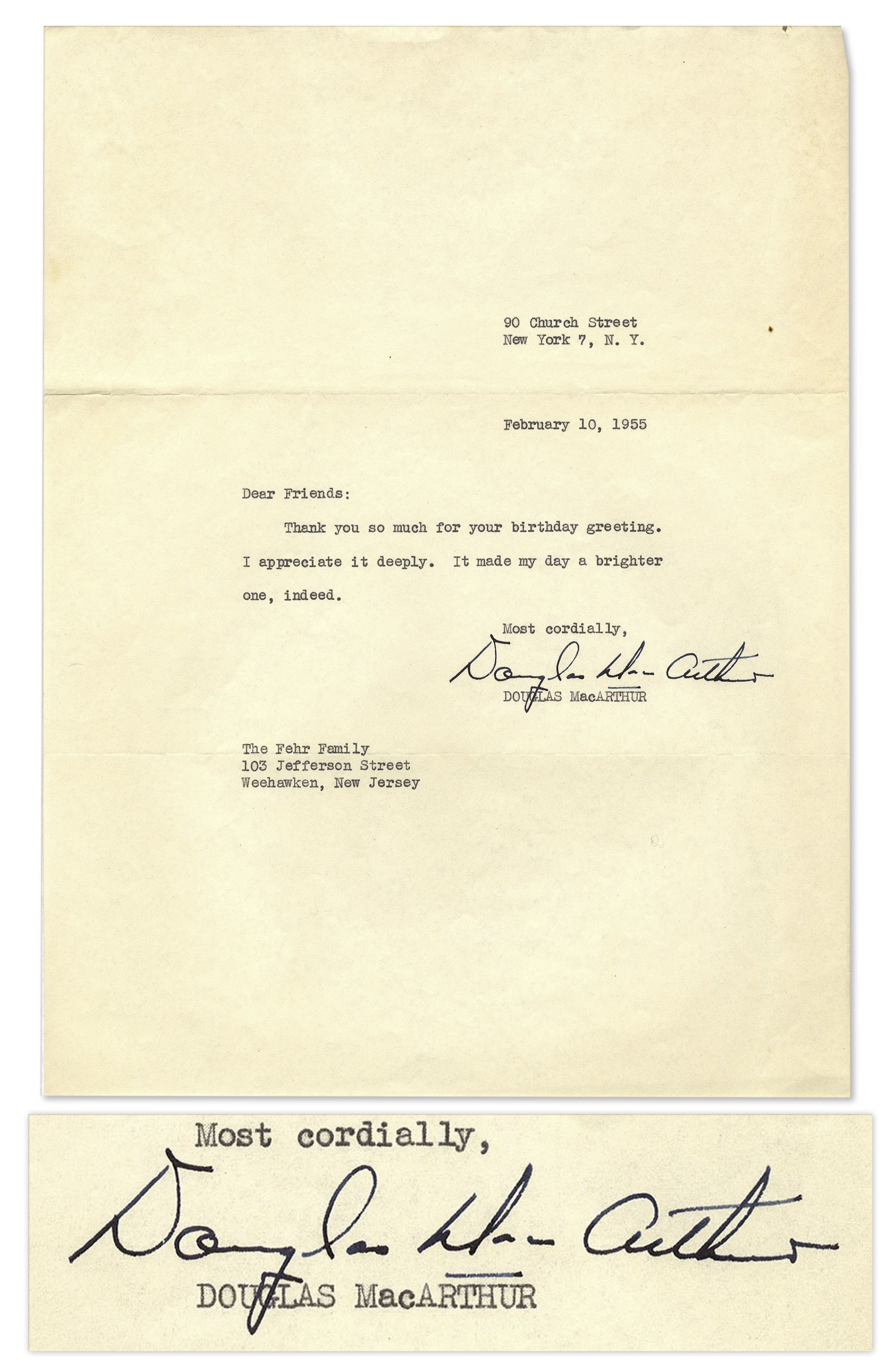lot detail general douglas macarthur typed letter signed general douglas macarthur typed letter signed thank you so