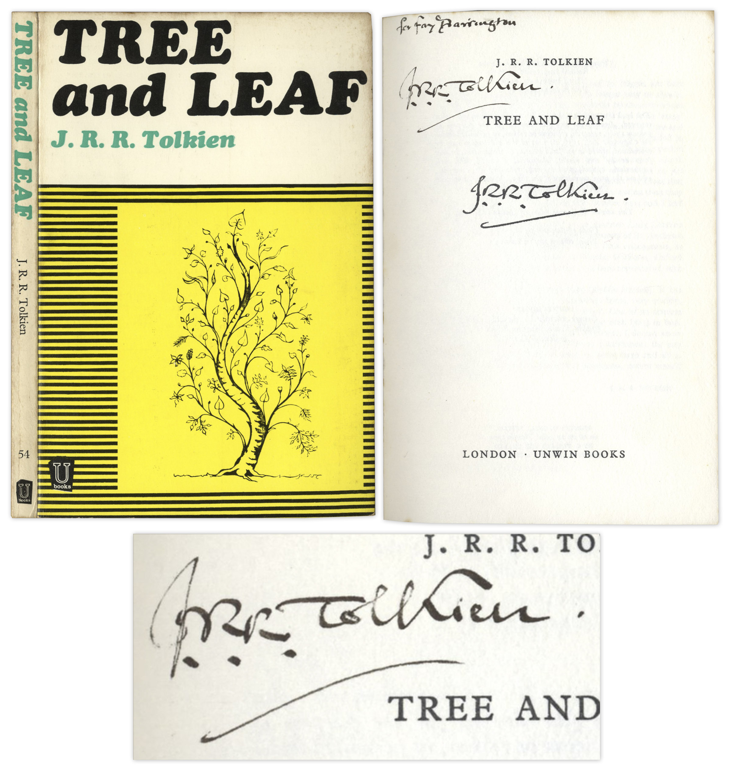 J.R.R. Tolkien First Edition J.R.R. Tolkien Signed Copy of ''Tree and Leaf'' -- With PSA/DNA COA