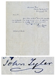 John Tyler Autograph Letter Signed -- Sent From Tylers Sherwood Forest Plantation in 1850