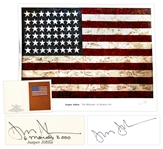 Jasper Johns Signed 38 x 40 Poster of His Famous Flag Painting -- With Additional Postcard Signed by Johns