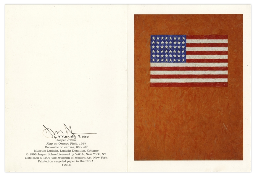 Jasper Johns Signed 38'' x 40'' Poster of His Famous ''Flag'' Painting -- With Additional Postcard Signed by Johns