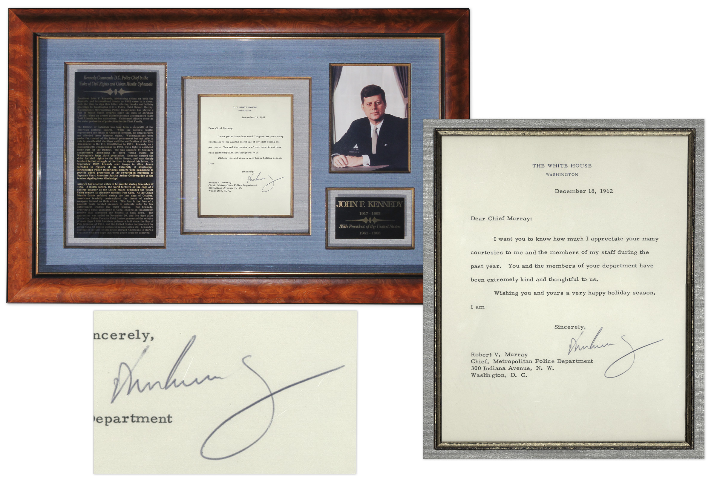 John F Kennedy Autograph John F. Kennedy Letter Signed as President -- Sent to DC Police Chief: ''...You and the members of your department have been very kind and thoughtful to us...'' -- With University Archives COA