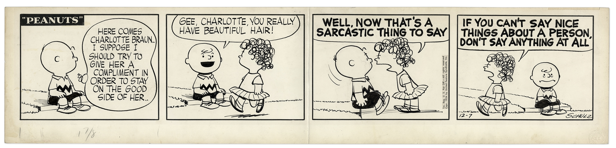 Charles Schulz Hand-Drawn ''Peanuts'' Comic Strip From 1954 Featuring Charlotte Braun & Charlie Brown -- Charlotte Appears in Only 10 Strips