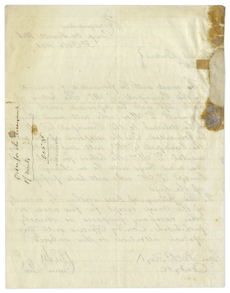 Robert E. Lee Early War-Dated Document Signed as Commanding General -- Regarding Mail for Confederate Troops & ''Felling of Trees'' Just After Lee's First Battle of Cheat Mountain