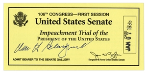 Supreme Court Chief Justice William Rehnquist Signed Ticket to the Impeachment Trial of President Bill Clinton -- Rehnquist Presided Over the Senate Impeachment Trial