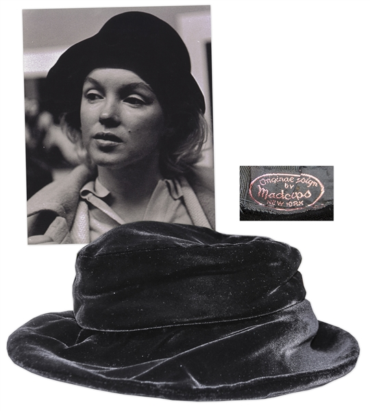 Marilyn Monroe dress auction Marilyn Monroe Personally Owned Black Velvet Hat -- Includes Photograph of the Iconic Hollywood Star Wearing Hat