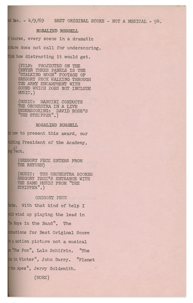 Script for the 1969 Academy Awards -- With Dialogue of Presenters, Call Sheets & Award Recipients