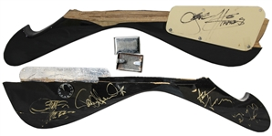 KISS Concert-Used Guitar Piece Signed by All Four Original Members -- Also With Gene Simmons Costume Stud