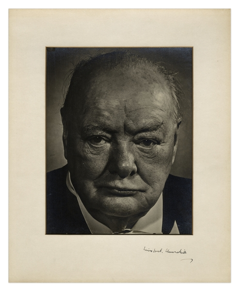 Winston Churchill Signed Photo Display -- Unusual, Dramatic Portrait of the WWII Prime Minister