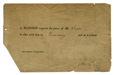 President James Madison 1809 White House Dinner Invitation -- Five Years Before the British Burned the White House