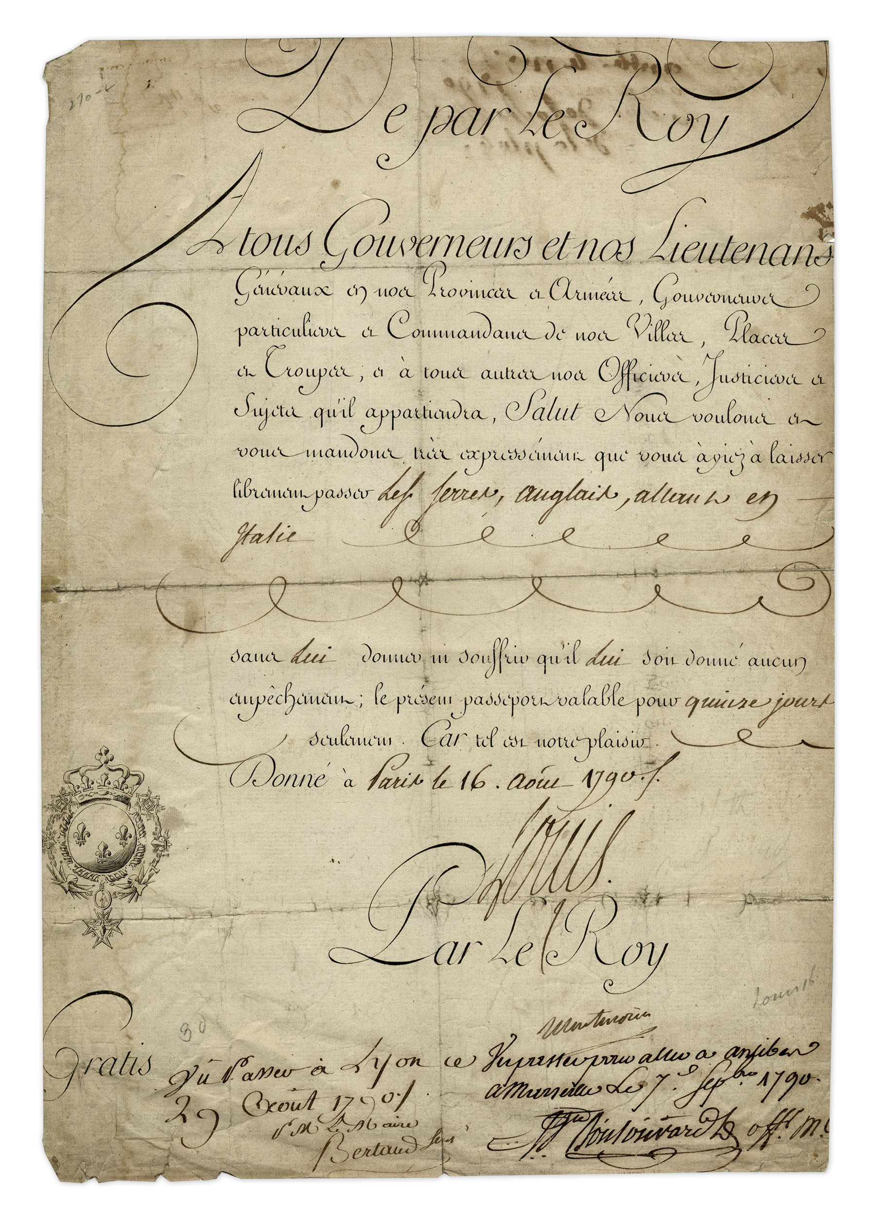 lot detail louis xvi 1790 document signed as king of. Black Bedroom Furniture Sets. Home Design Ideas